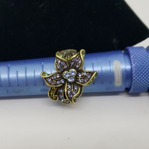 Heidi Daus tanzanite colored flower ring
